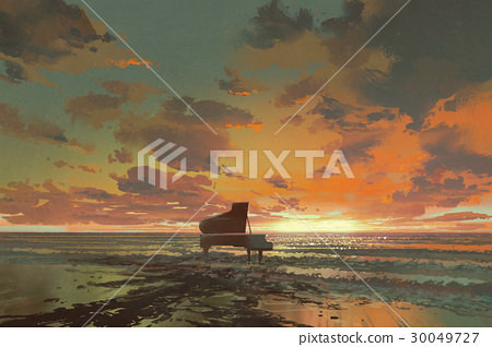 black piano on the beach at sunset 30049727