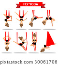 Set of Fly Yoga positions design 30061706