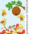 Illustration of a branch of a tree with a beehive  30062638