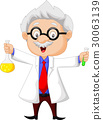 Cartoon scientist holding chemical flask 30063139