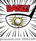 Swinging driver club hitting golf ball sound BANG 30063394