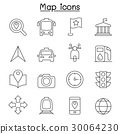 Map icon set in thin line style 30064230
