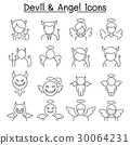 Devil & Angel icon set in thin line style 30064231