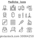 Medicine icon set in thin line style 30064250