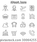Airport icon set in thin line style 30064255