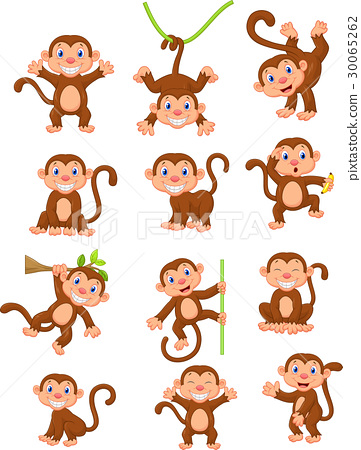 Happy monkey cartoon collection set 30065262