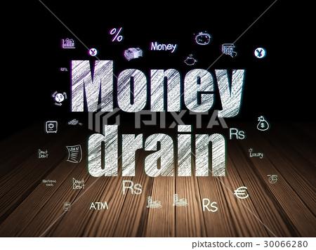 Banking concept: Money Drain in grunge dark room 30066280