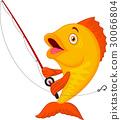 Cute fish holding fishing rod 30066804