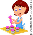 Catoon woman with apron decorating cupcakes 30066811