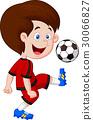 Boy playing football 30066827