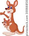 Kangaroo cartoon waving 30066856