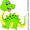Cute green dinosaur cartoon 30066860