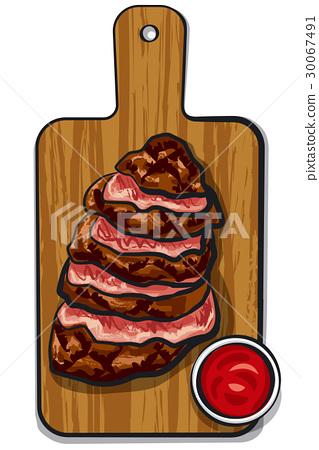 sliced beef steaks 30067491