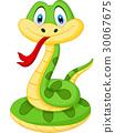 Cute green snake cartoon 30067675