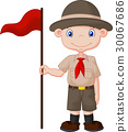 Cartoon boy scout holding red flag 30067686