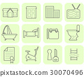 Real estate and amenities icons 30070496