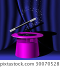 Magician top hat and magic wand with stars 30070528