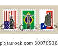 Three Postmarks with sights of America and stamps 30070538