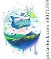 水彩畫 鯨魚 劍魚 30071259