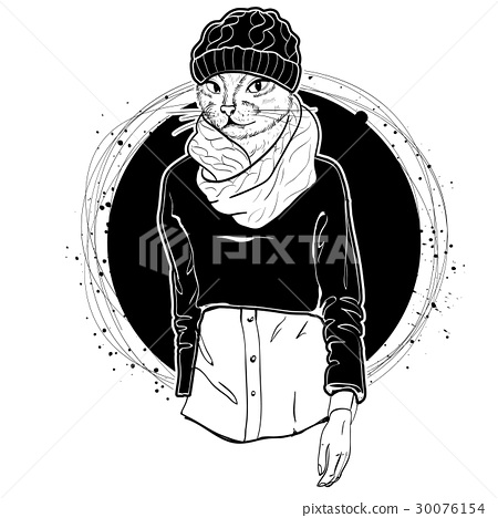 Vector elegant woman with cats head 30076154