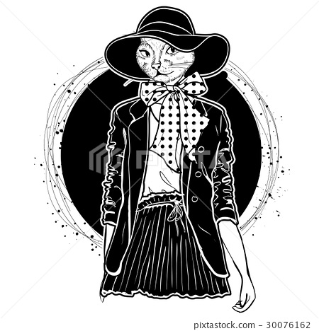Vector elegant woman with cats head 30076162