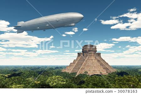 Airship and Mayan temple 30078163