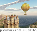 Scottish castle and fantasy hot air balloon 30078165
