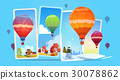 Colorful Air Balloons Flying In Sky Over Summer 30078862