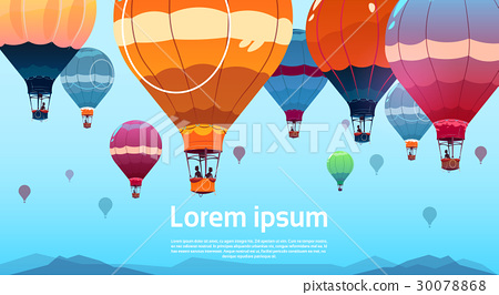 Colorful Air Balloons Flying In Sky Over Summer 30078868