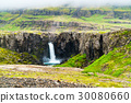 View of high waterfall in north Iceland 30080660