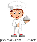 chef holding vector 30089696