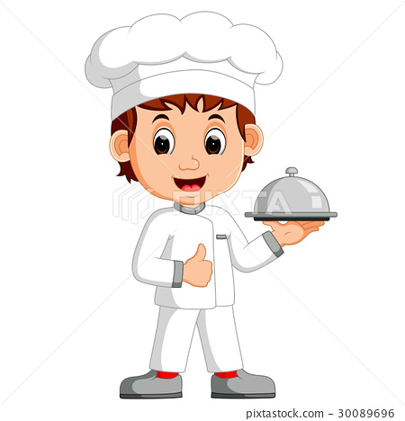 Cartoon funny chef holding a silver platter 30089696