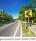 Road signs warning drivers for ahead curve 30091383