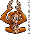 Orangutan Safari Animals Cartoon Character 30092514