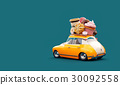 Cute fantastic car with sweets and coffee on top. 30092558
