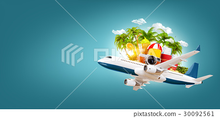 airplane and tropical palm on a paradise island 30092561