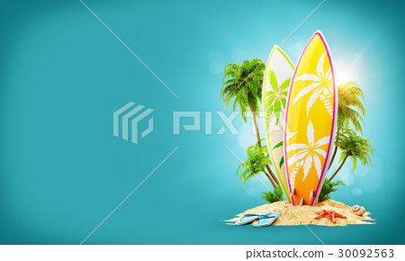 Surf boards on paradise island 30092563