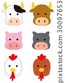 소 · 돼지 · 닭의 일러스트 30097653
