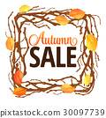 Hello Autumn Background. Bright autumn branch and 30097739