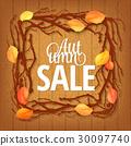 Hello Autumn Background. Bright autumn branch and 30097740