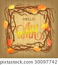 Hello Autumn Background. Bright autumn branch and 30097742