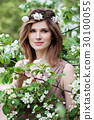 Beautiful Woman in Flowers Wreath 30100055