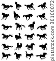 silhouettes of galloping horses 30100072