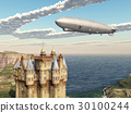 Scottish castle and airship 30100244