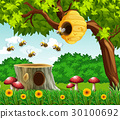 Garden scene with bees flying 30100692