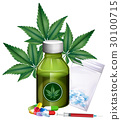 Marijuana leaves and different products 30100715