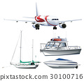 Ships and airplane on white background 30100716