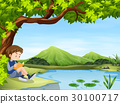 Boy reading book by the pond 30100717