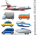 Different transportations on white background 30100724