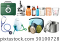 Different medical equipments on white background 30100728